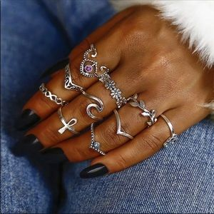 Jewelry - NEW - 10 Piece Midi Knuckle Ring Set In Silver